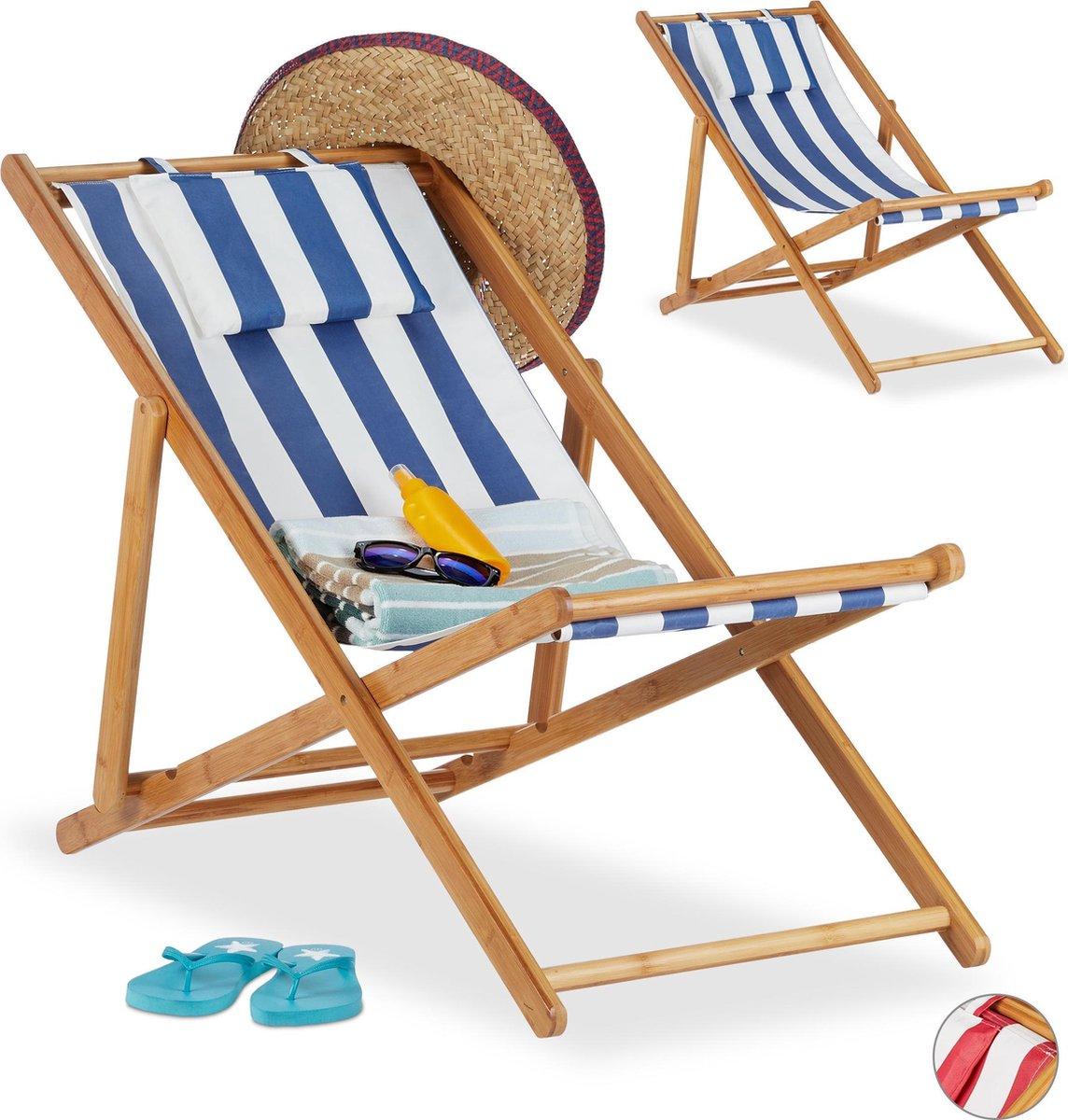 relaxdays Strandstoel set van 2 - ligstoel - kampeerstoel - tuinstoel - gestreept - bamboe blauw-strip