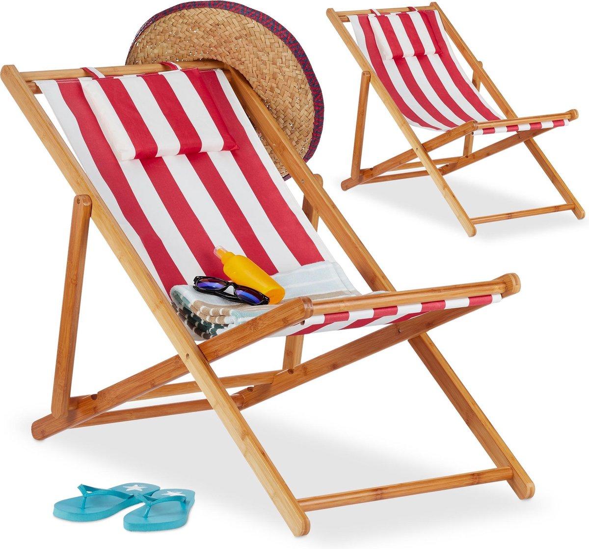 relaxdays Strandstoel set van 2 - ligstoel - kampeerstoel - tuinstoel - gestreept - bamboe rood-strip