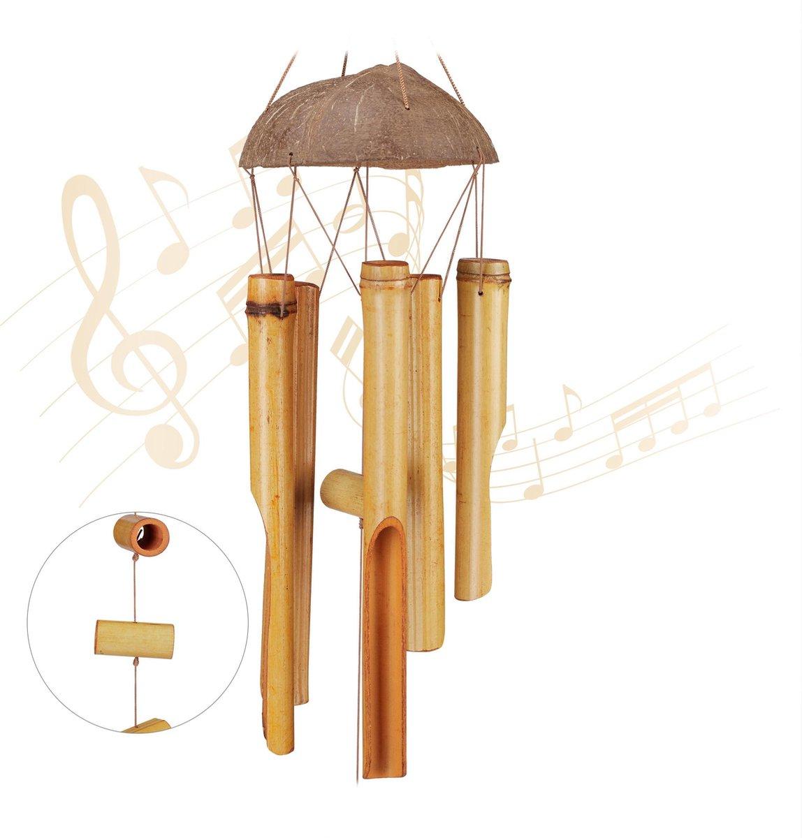 relaxdays windgong bamboe - tuin - wind chime hout - windorgel - tuindecoratie