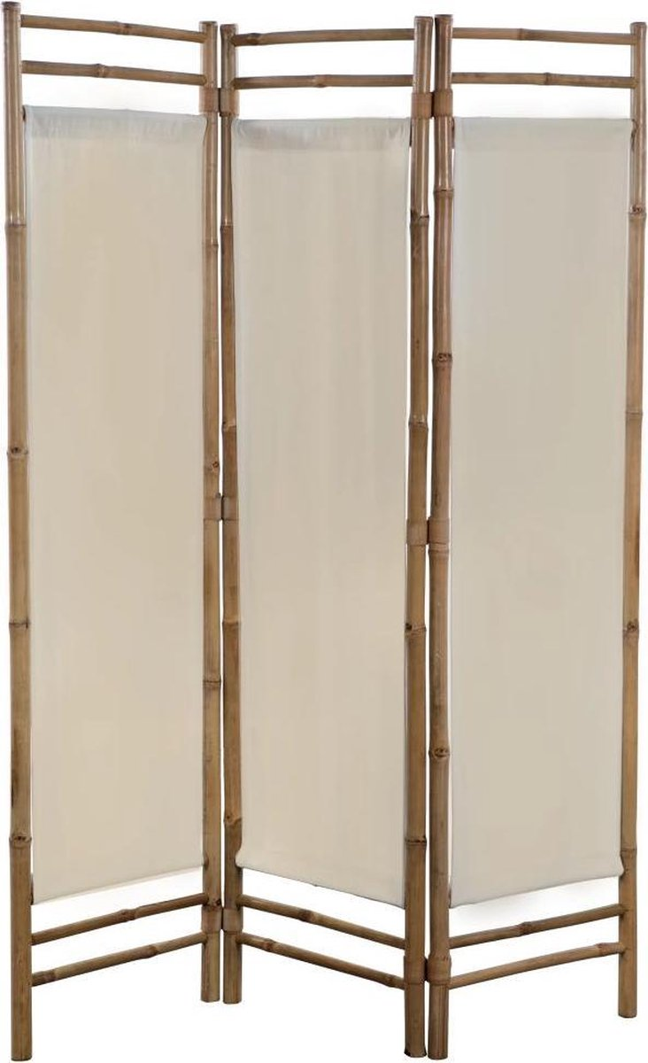 vidaXL Kamerverdeler 3-panelen inklapbaar 120 cm bamboe en canvas
