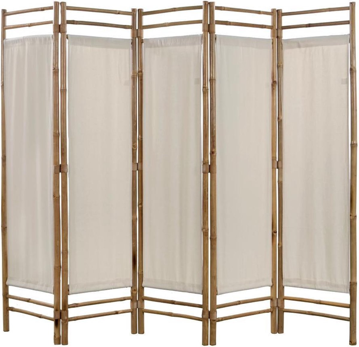 vidaXL Kamerverdeler 5-panelen inklapbaar 200 cm bamboe en canvas