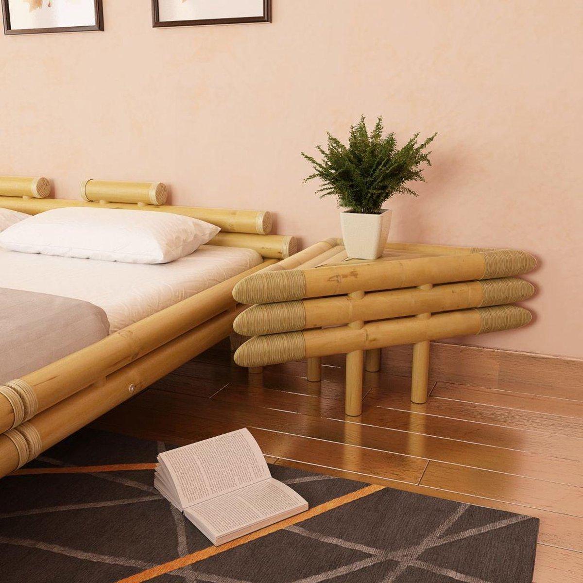 vidaXL Nachtkastjes 60x60x40 cm bamboe natuurlijk 2 st