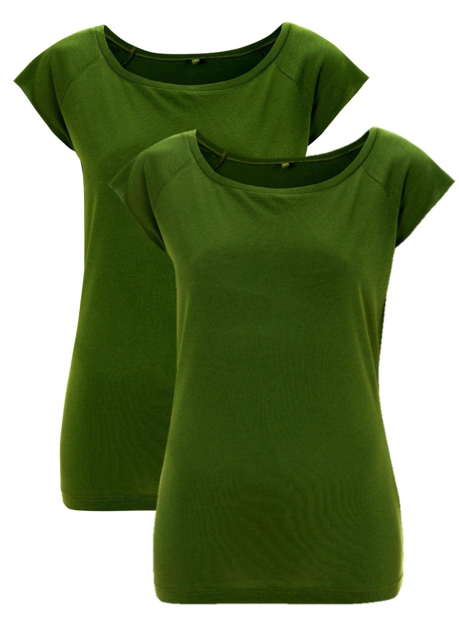 Bamboe t-shirt dames 2-pack groen | Cayboo
