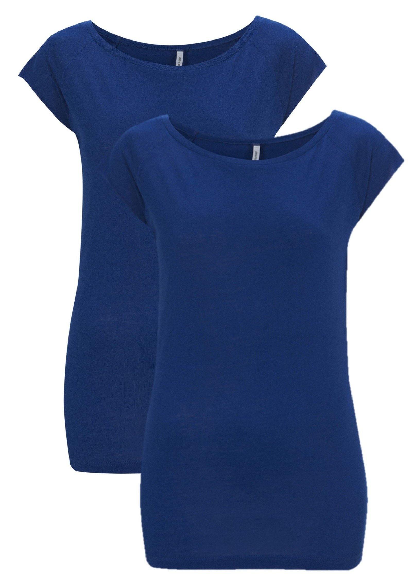 Bamboe t-shirt dames 2-pack blauw | Cayboo