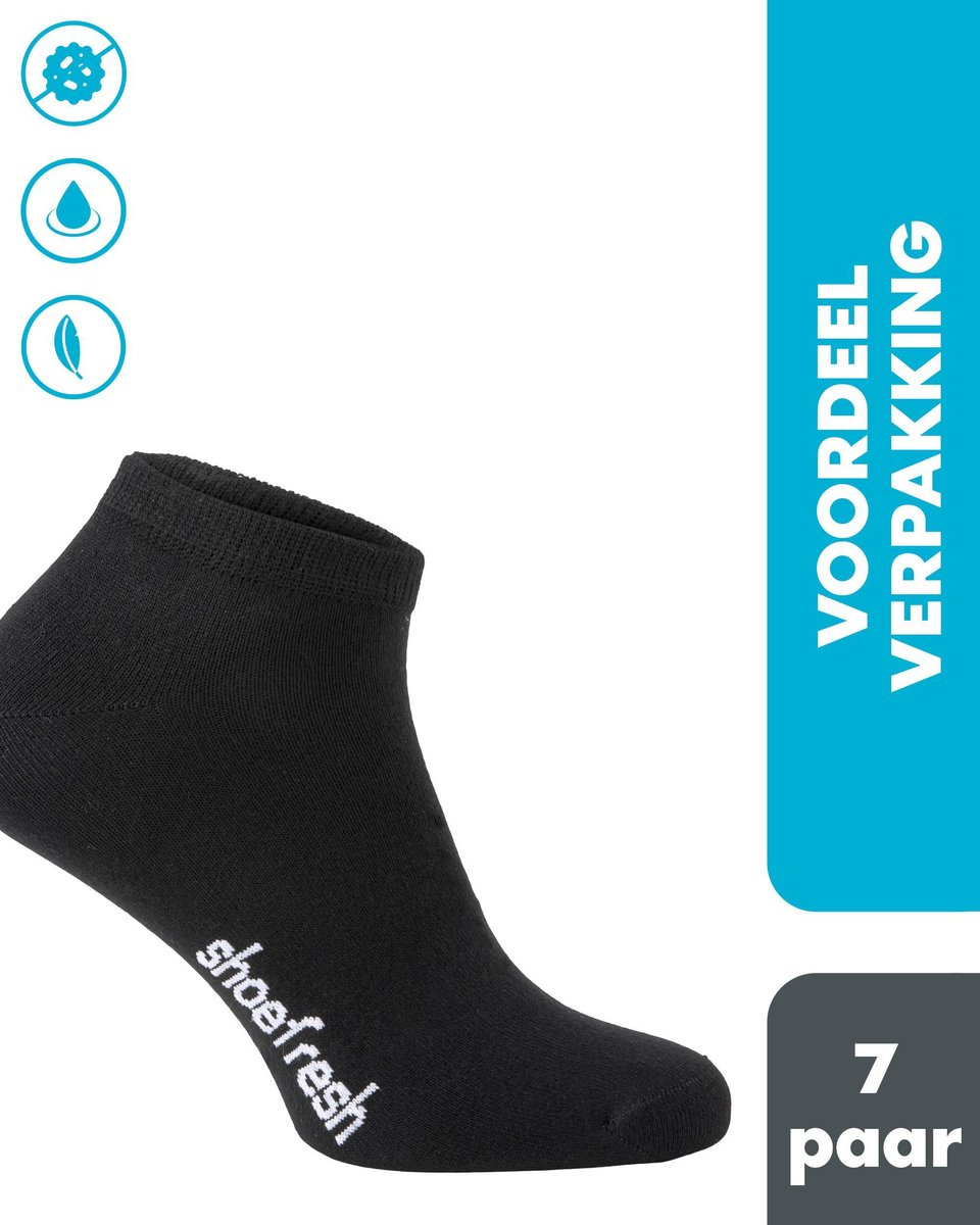 7 paar Shoefresh Bamboe Enkelsokken Dames - Maat 35-38 - Zwart - Naadloze Sokken