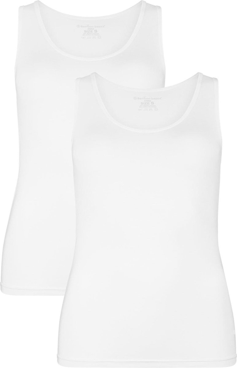 Bamboo Basics - 2-Pack Dames Bamboe Singlets Anna - Wit - L