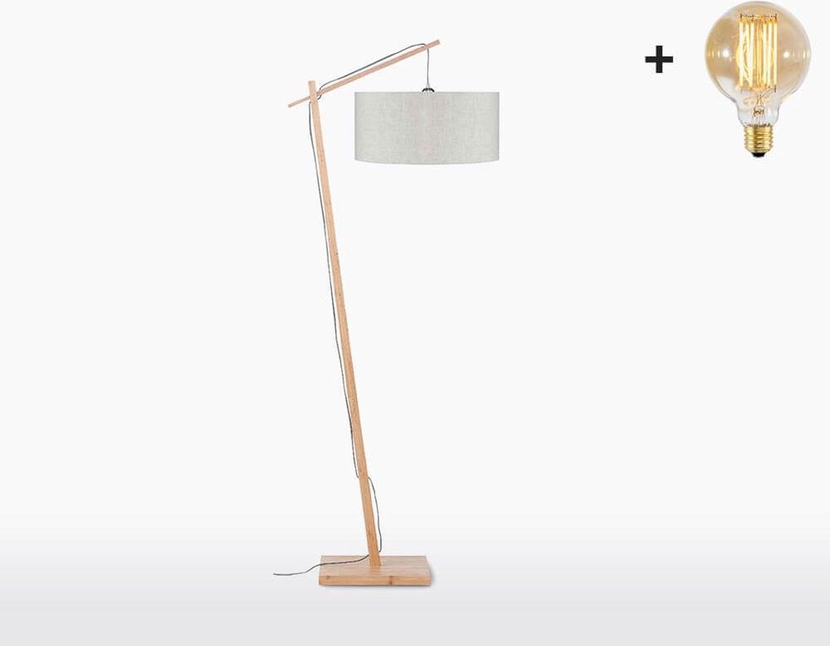 Good & Mojo Vloerlamp - ANDES - Bamboe/linnen - Product Kleur: Licht linnen / Product Met gloeilamp: Ja