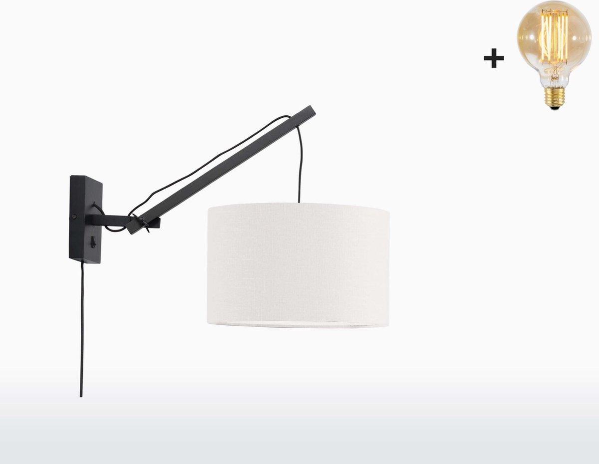 Good & Mojo Wandlamp - ANDES - Bamboe/Linnen - Korte Arm - Zwart