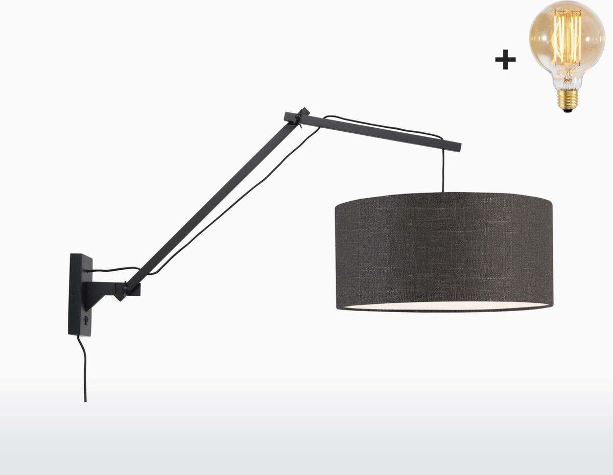 Good & Mojo Wandlamp - ANDES - Bamboe/linnen - Lange arm - Zwart