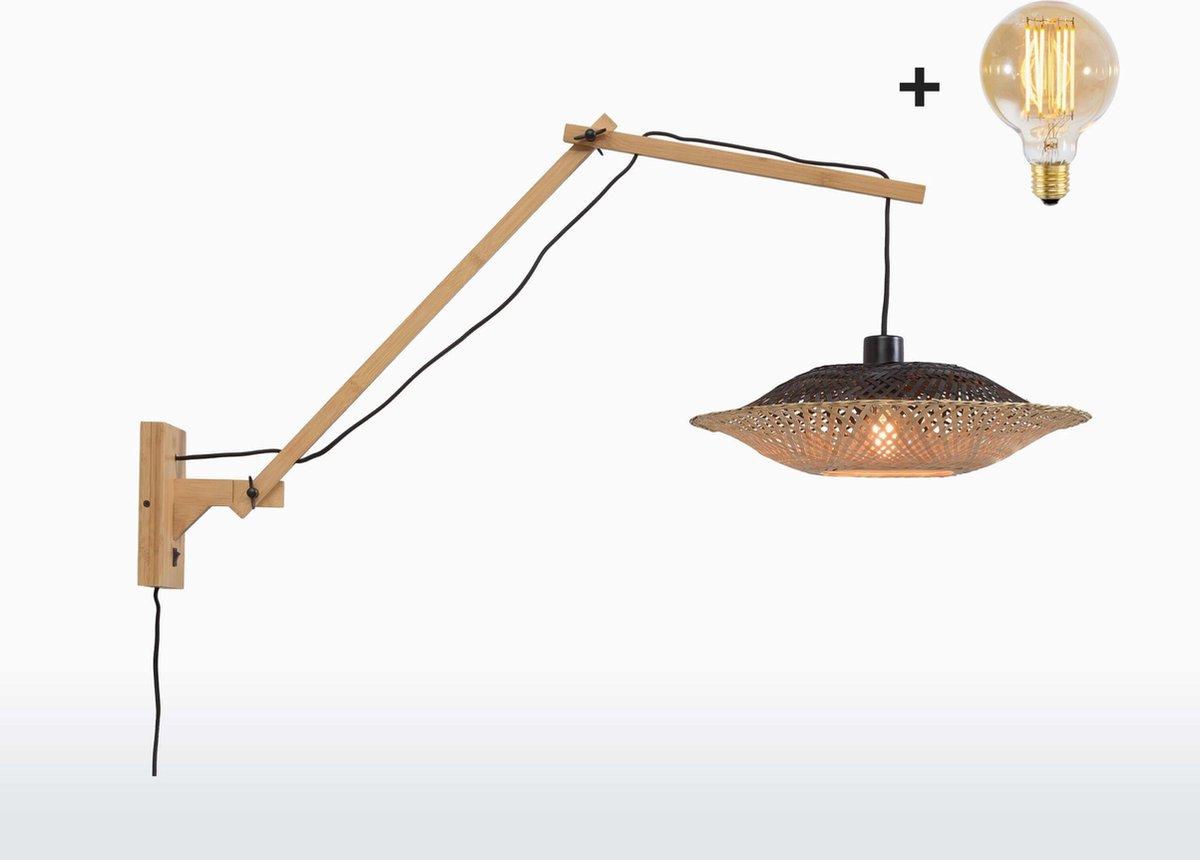 Good & Mojo Wandlamp - KALIMANTAN - Bamboe - Lange Arm