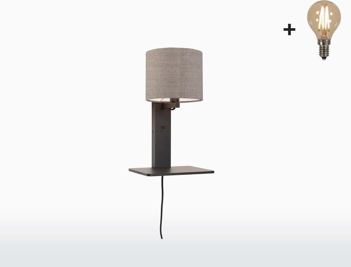 Good & Mojo Wandlamp met boekenplank - ANDES - Bamboe/Linnen - Zwart