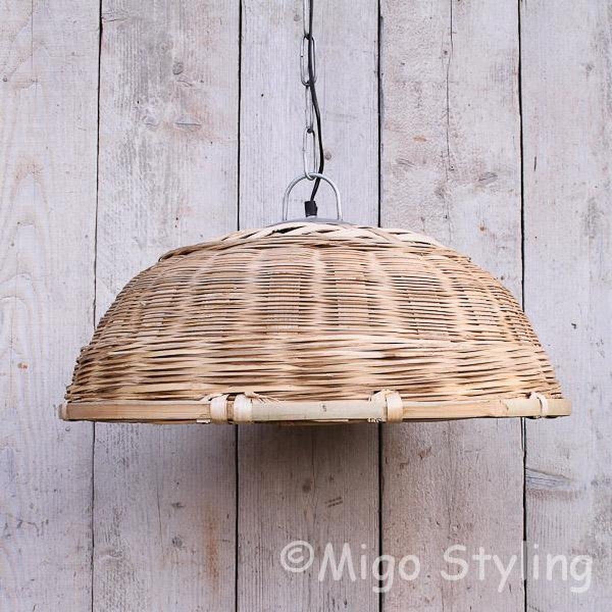 Hanglamp-Riet-Bamboe-Ijzer-Naturel-Tuin-Overkapping-Dia 58 cm