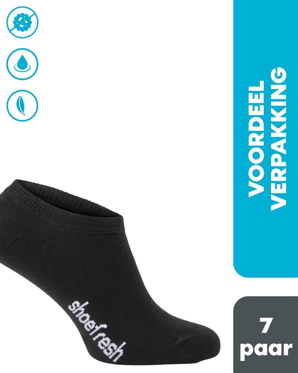 Shoefresh - 7 paar Bamboe Sneakersokken heren / footies - Maat 43-45 - Zwart