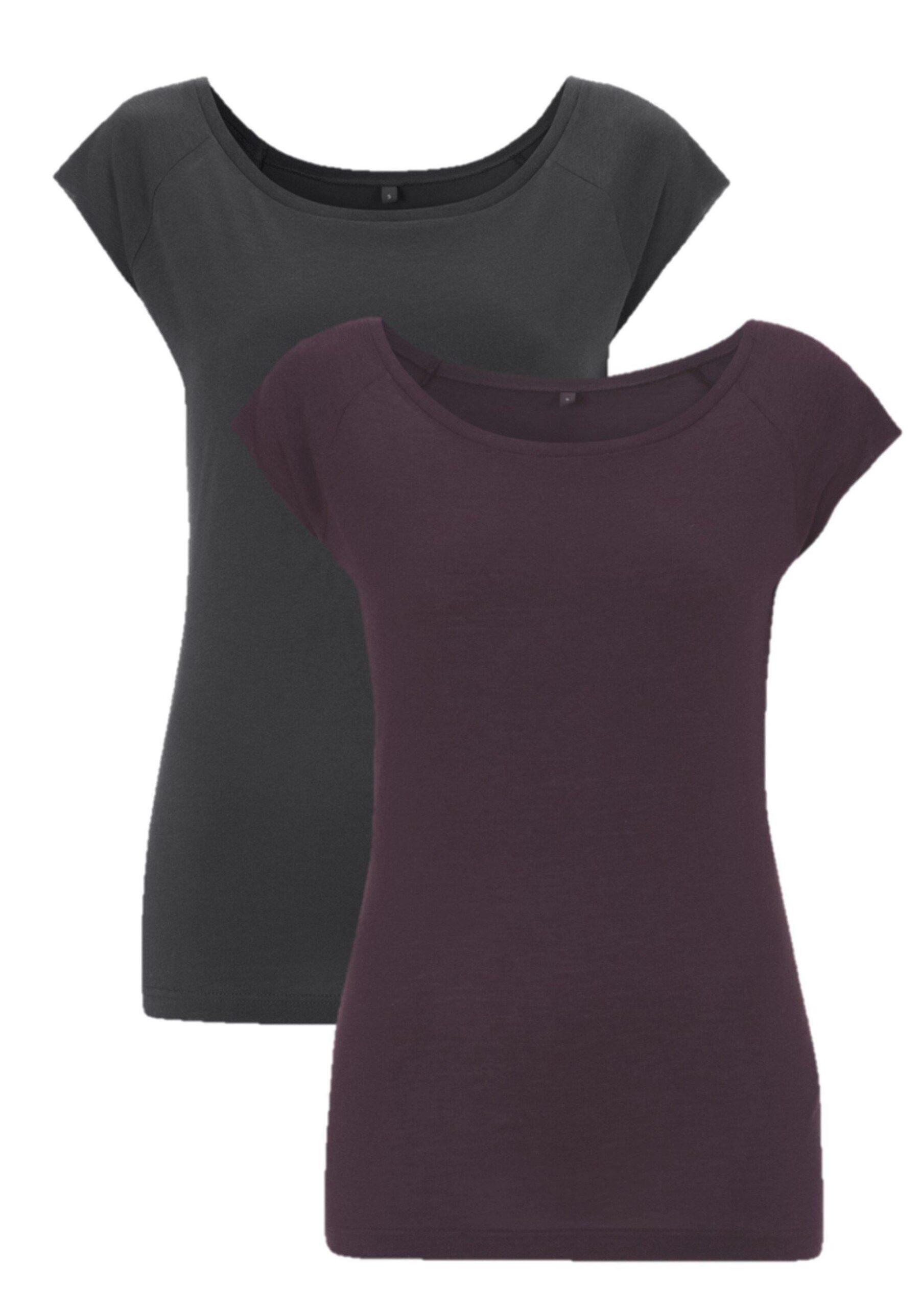 Bamboe t-shirt dames 2-pack mix paars/grijs