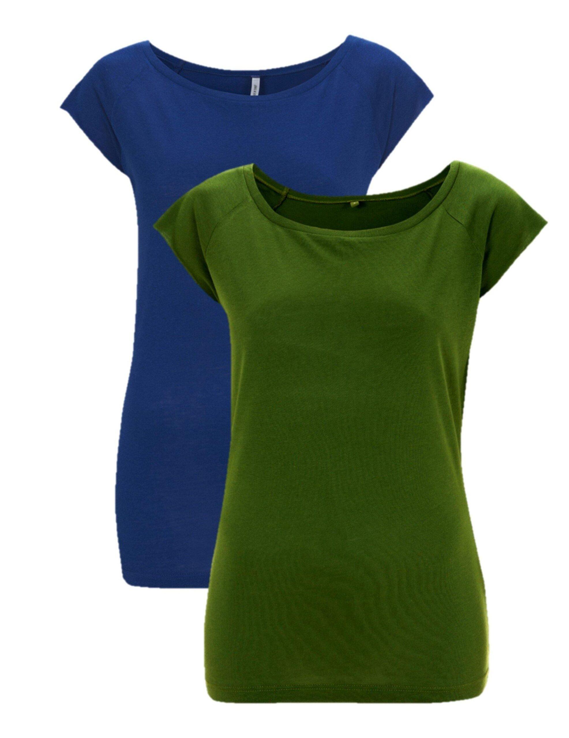 Bamboe t-shirt dames 2-pack mix groen/blauw