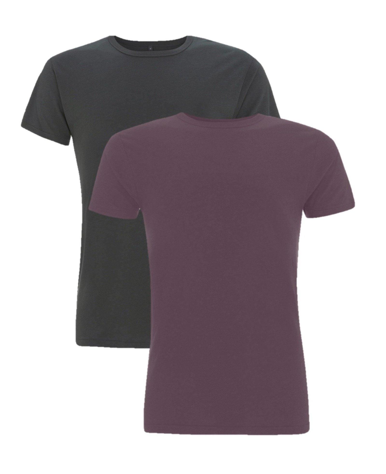 Cayboo bamboe t-shirt heren 2-pack mix zwart/paars