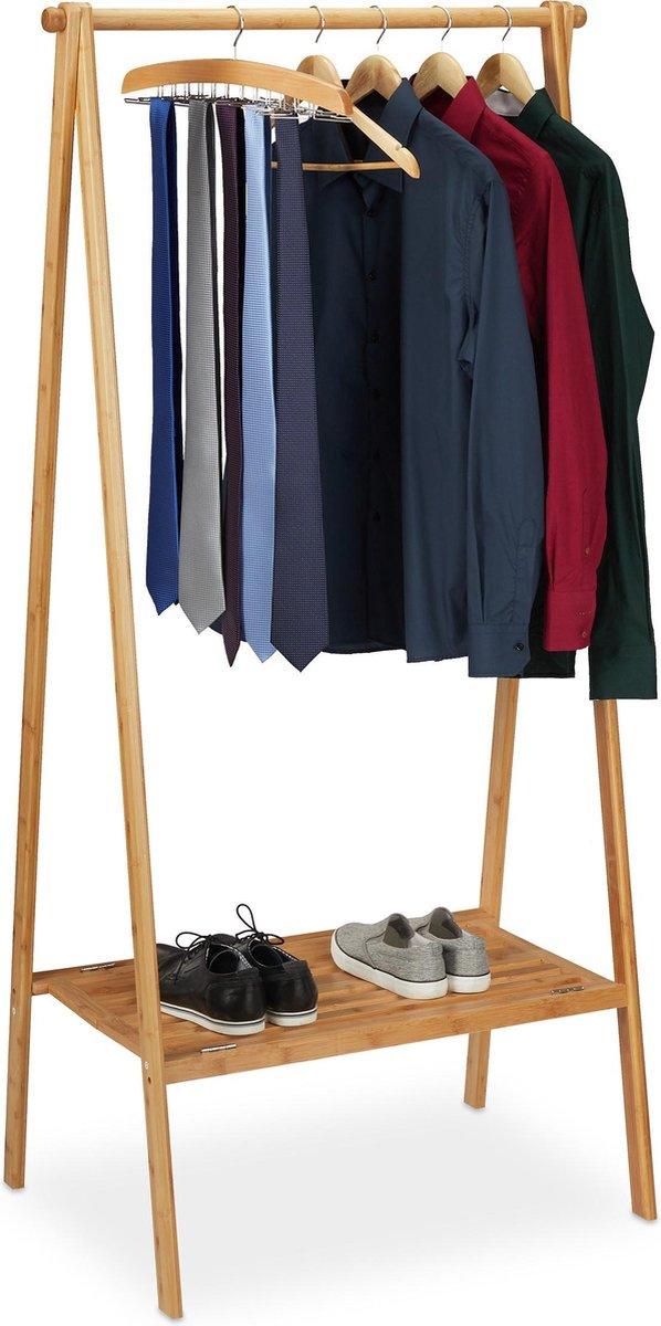 relaxdays kledingrek - bamboe - garderoberek - inklapbaar - kledingstandaard - gang