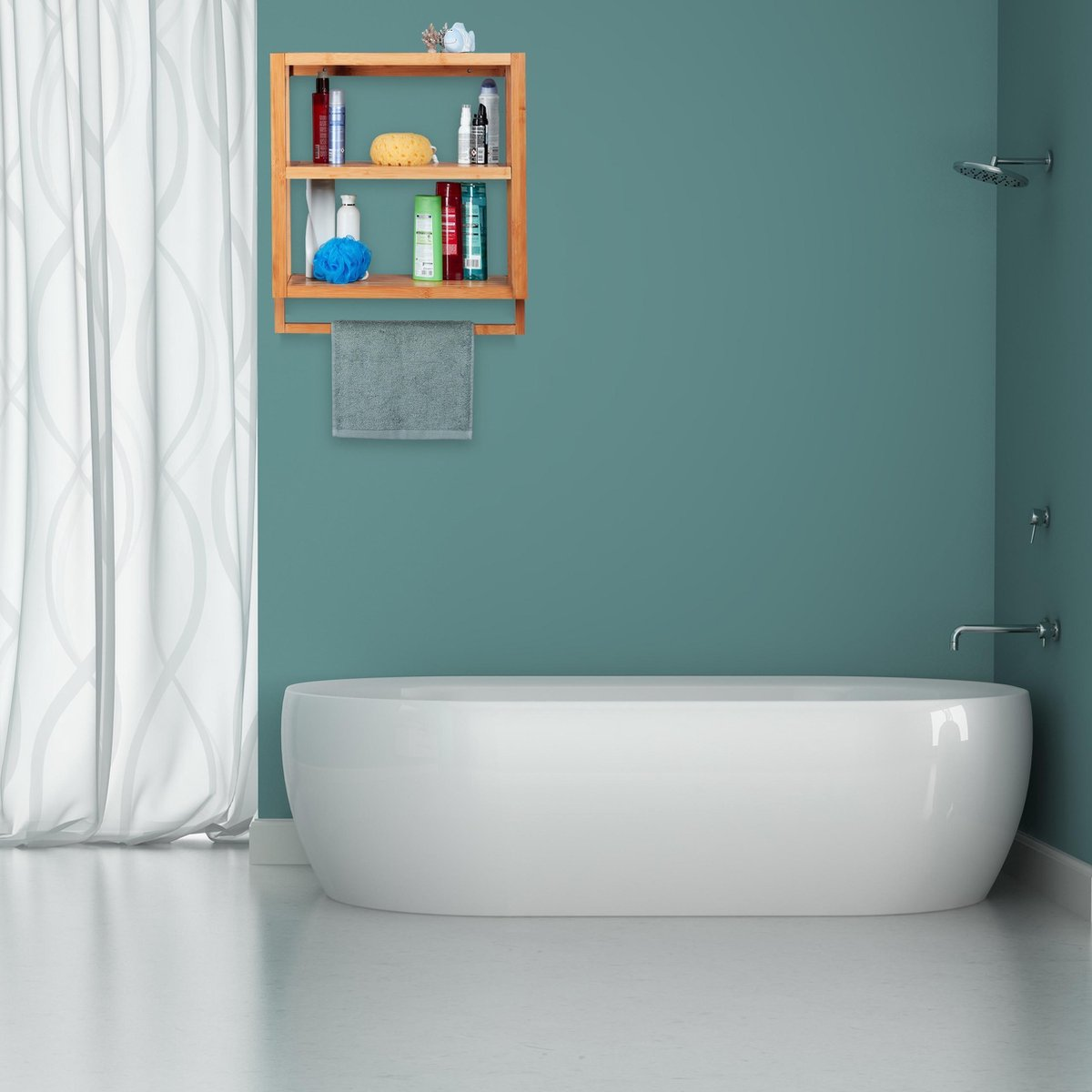 relaxdays wandrek - bamboe - 3 etages - badkamerrek - handdoekhouder - keukenrek