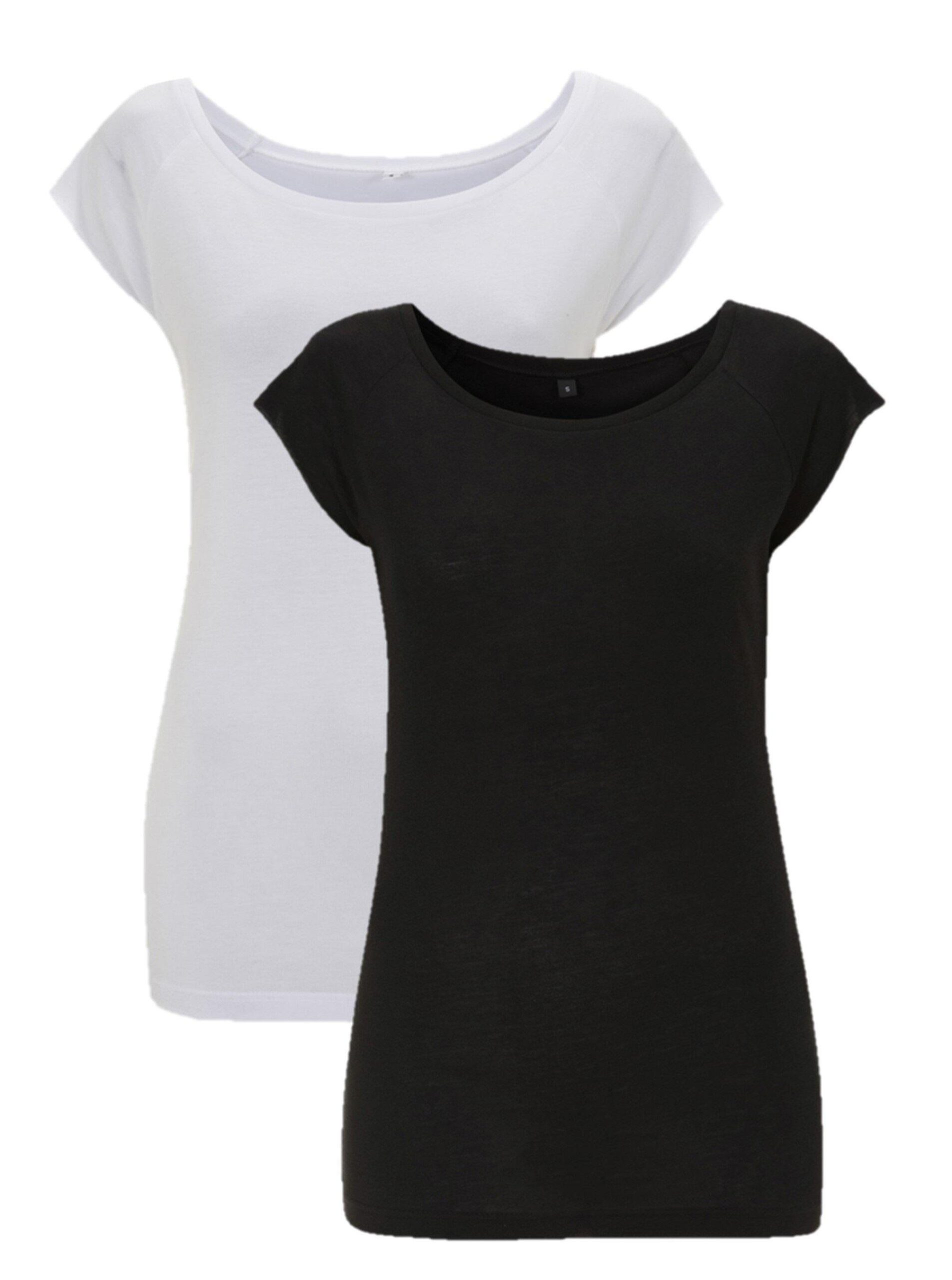Bamboe t-shirt dames 2-pack mix wit