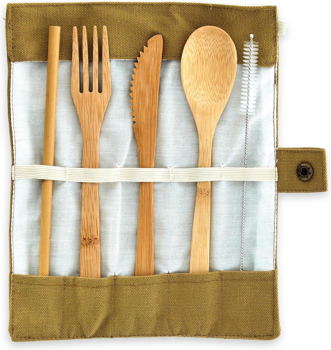 Blumfeldt bamboe bestekset met lepel, vork, mes en rietjes - 100% Bamboe - Ecologische en herbruikbare bestek, voor reizen, feestjes en bbq inclusief tas