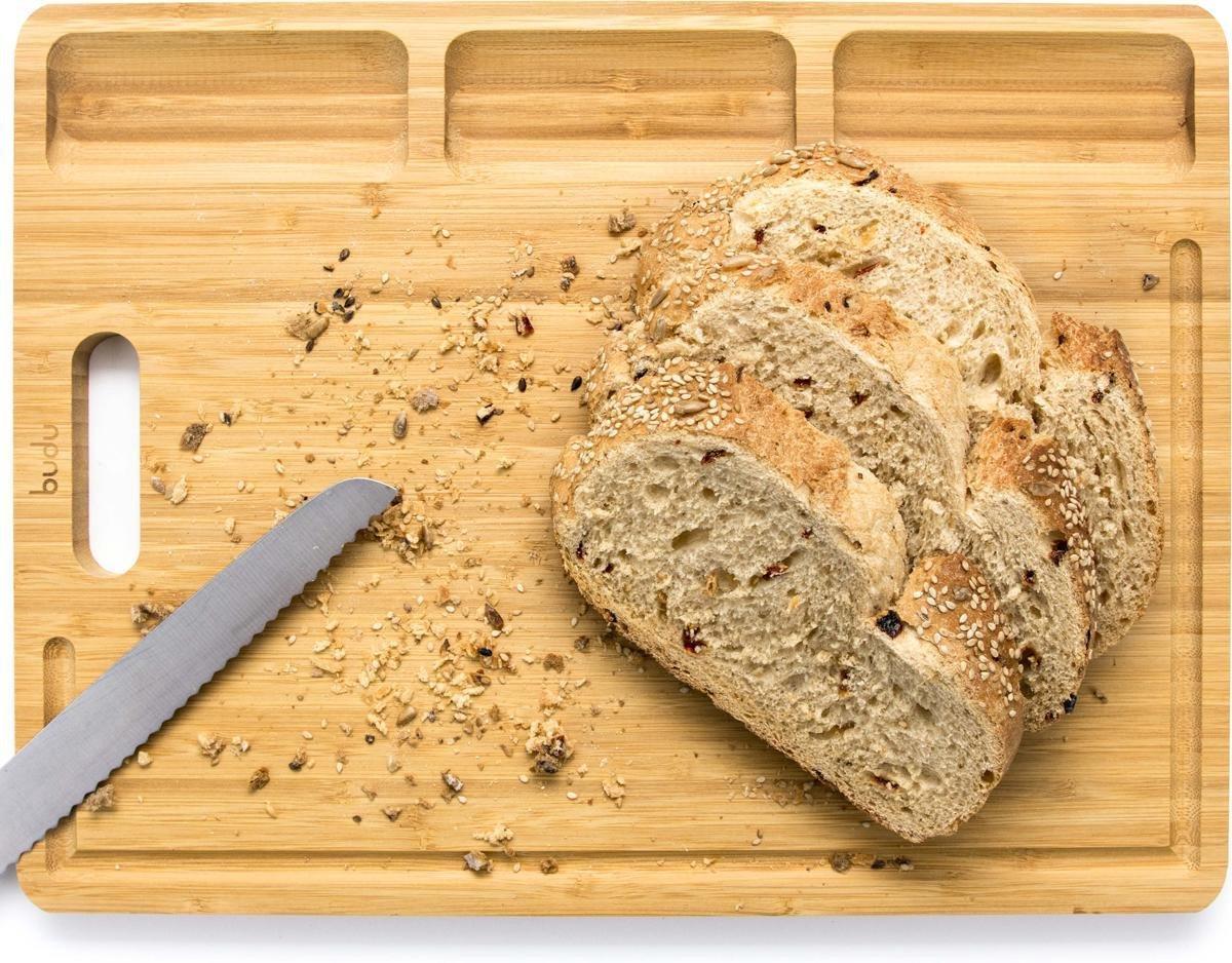 Budu Broodplank Bamboe XL - Broodplank Hout - Borrelplank - Snijplank - Tapasplank - Serveerplank - Houten Broodplanken - Broodplank Cadeau - 30 x 40cm