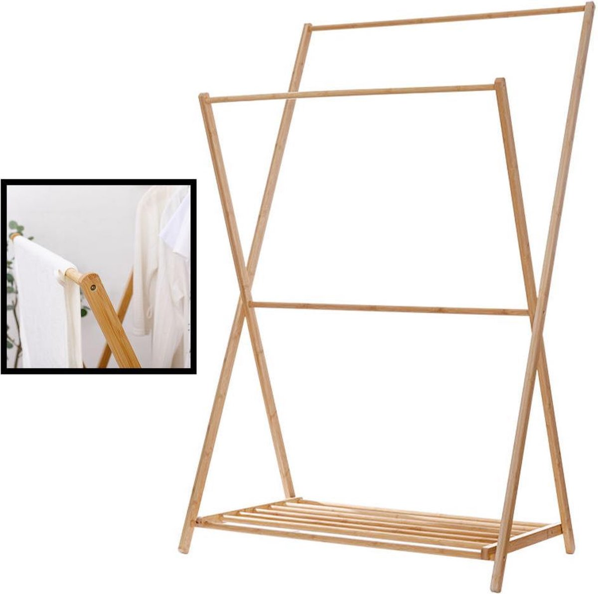 Decopatent® Staand Kledingrek met 1 Legplank en 2 Hangstangen - Kledingstandaard - Garderobe slaapkamer - Bamboe hout - 90x55x150