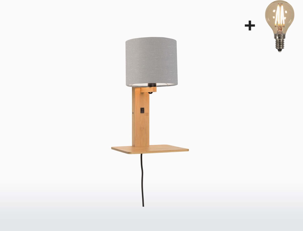 Good & Mojo Wandlamp met boekenplank - ANDES - Bamboe/Linnen - Naturel