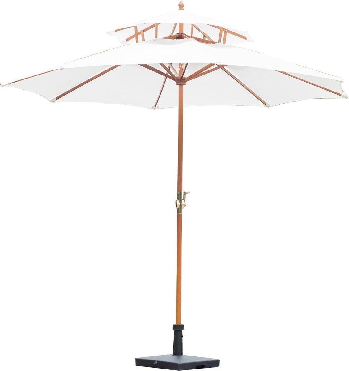 Parasol - Zonnescherm - Met dubbelscherm - Met handslinger - Bamboe - 270 cm - Creme - Bamboe