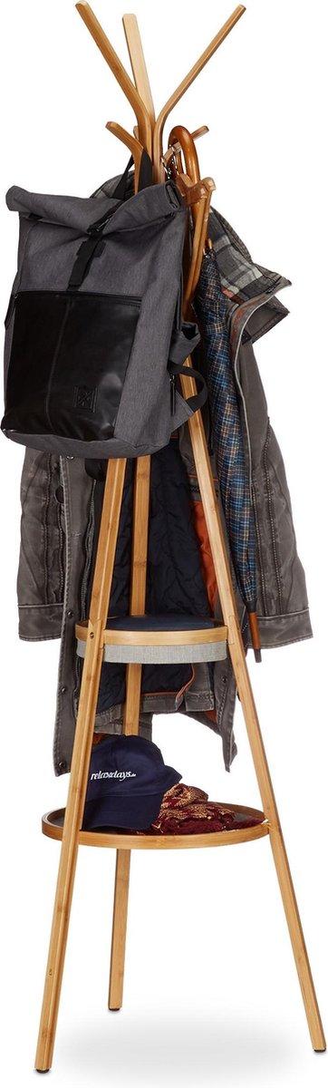 relaxdays Kapstok met plateau - bamboe kledingrek - vrijstaande garderobe met 6 haken