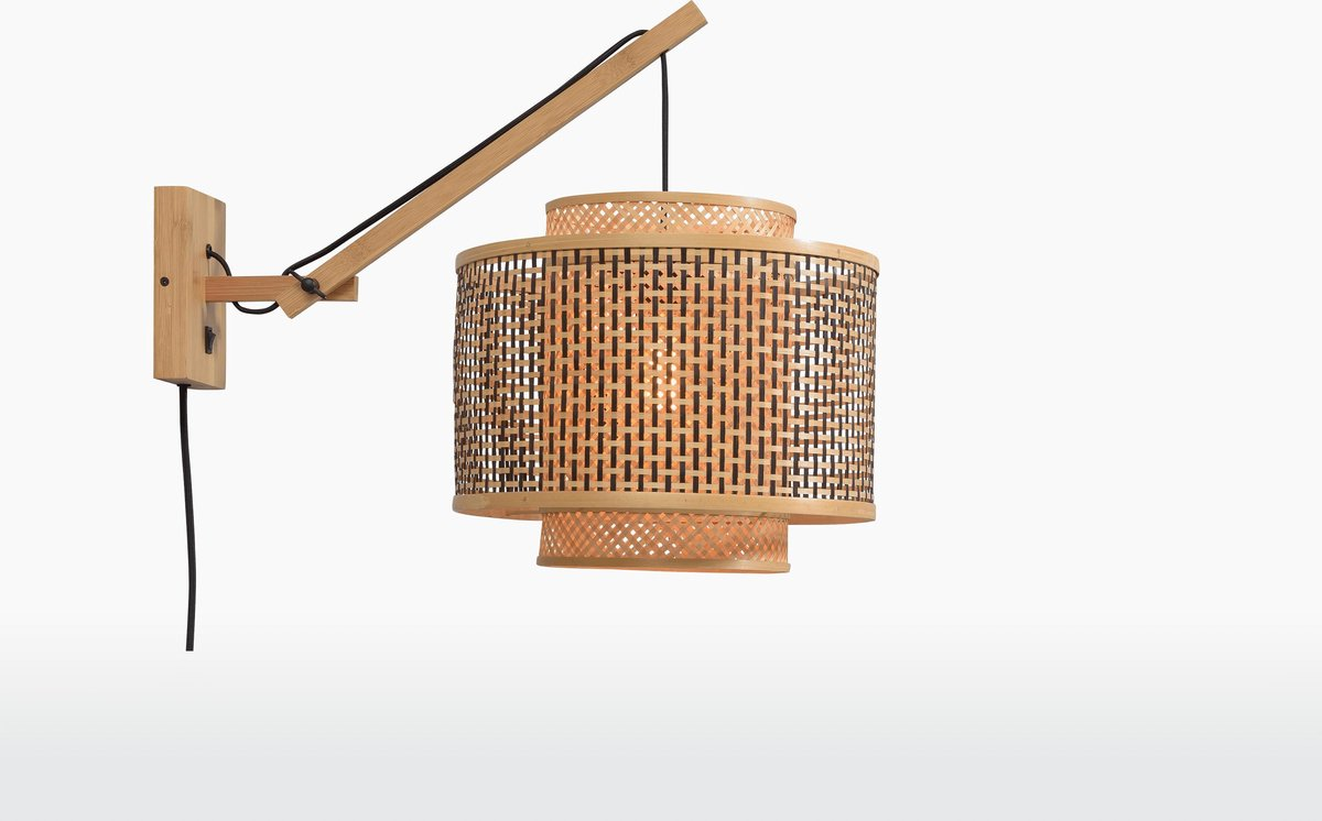 Good & Mojo Wandlamp - BHUTAN - Bamboe - Korte Arm - Naturel