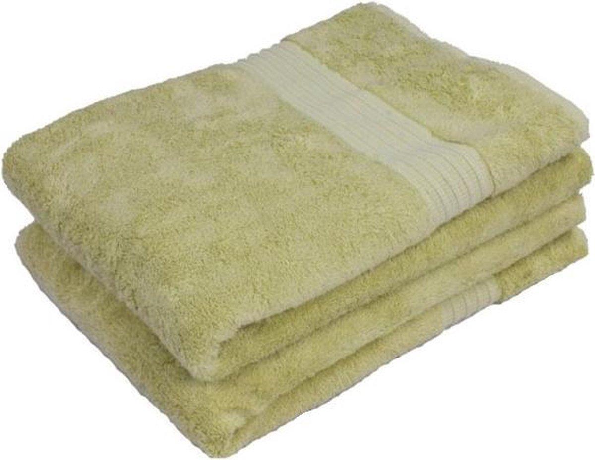 2 Stuks Groene Bamboe Handdoek 70x140 cm 500Gr m²