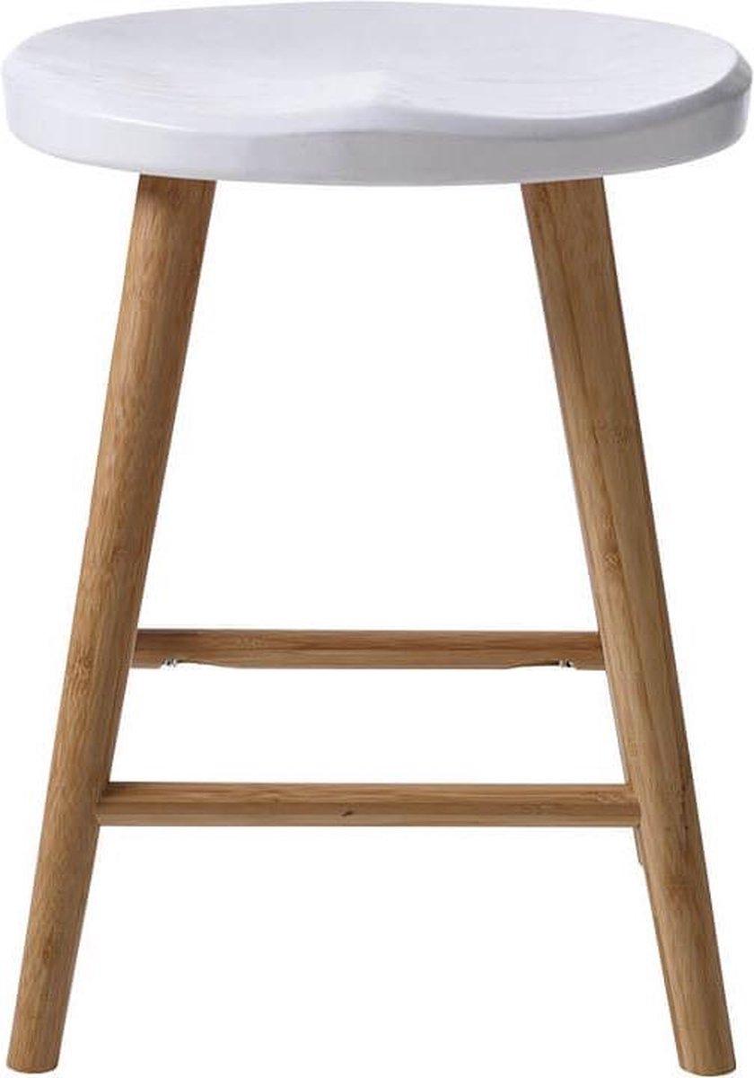 Cinas - Noble Kruk Wit - Duurzaam bamboe - Wit zitvlak - Scandinavisch Design