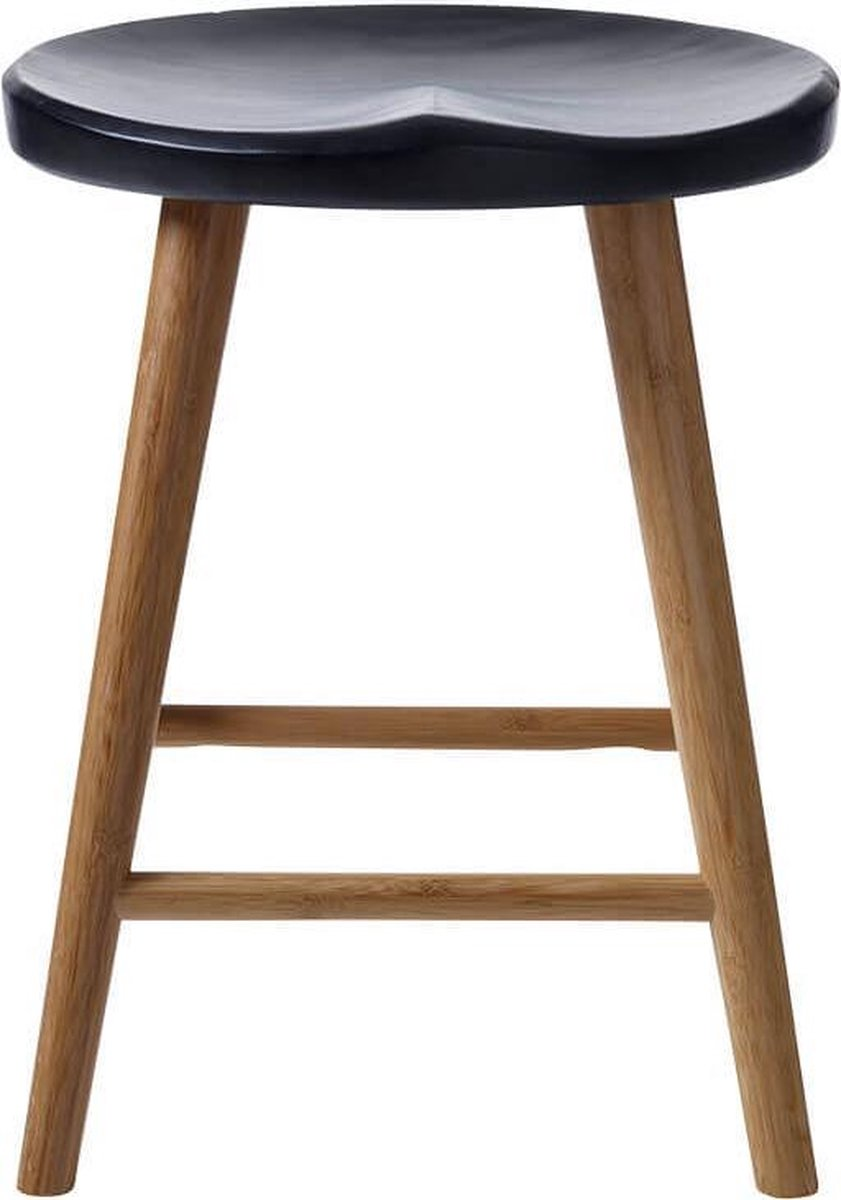 Cinas - Noble Kruk Zwart - Duurzaam bamboe - Zwart zitvlak - Scandinavisch Design
