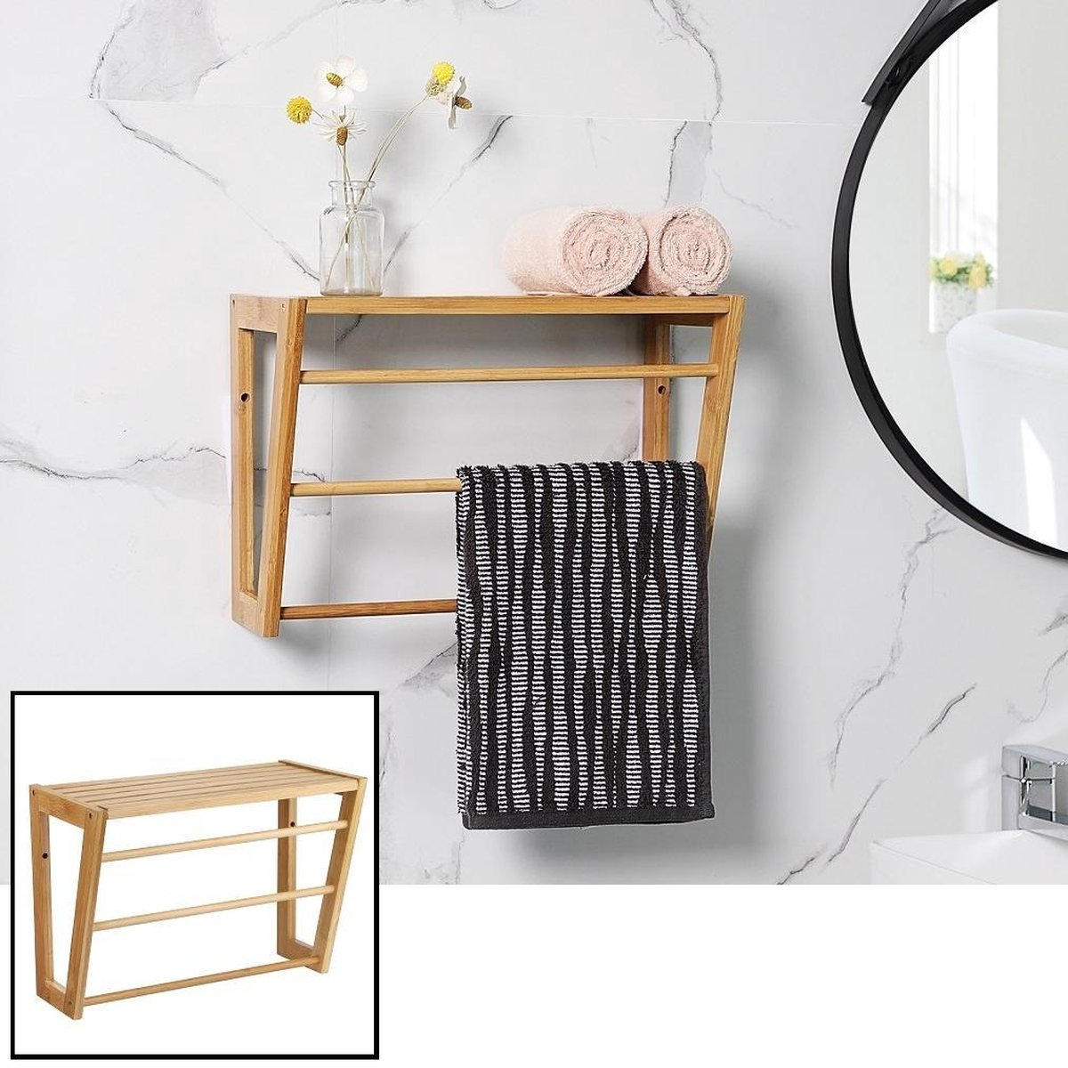 Decopatent® Bamboe wandplank en handdoekenrek voor in de badkamer - Hangend houten wandrek - Handdoekenhouder - Badkamer rek
