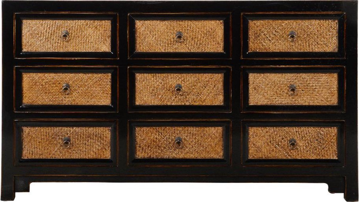 Fine Asianliving Chinese Kist Met Lades Zwart Bamboe B140xD41xH80cm Chinese Meubels Oosterse Kast