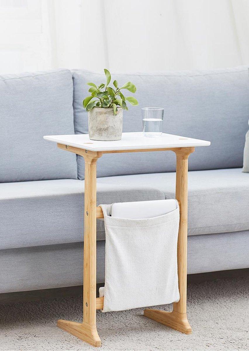 Furniteam Bijzettafel - 100% Bamboe frame - Met afneembare opbergtas - Hoogte 61cm