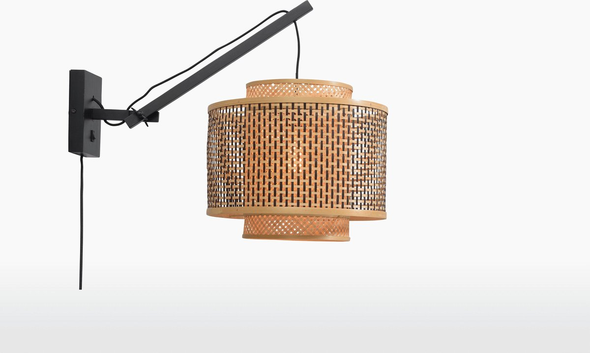 Good & Mojo Wandlamp - BHUTAN - Bamboe - Korte Arm - Zwart