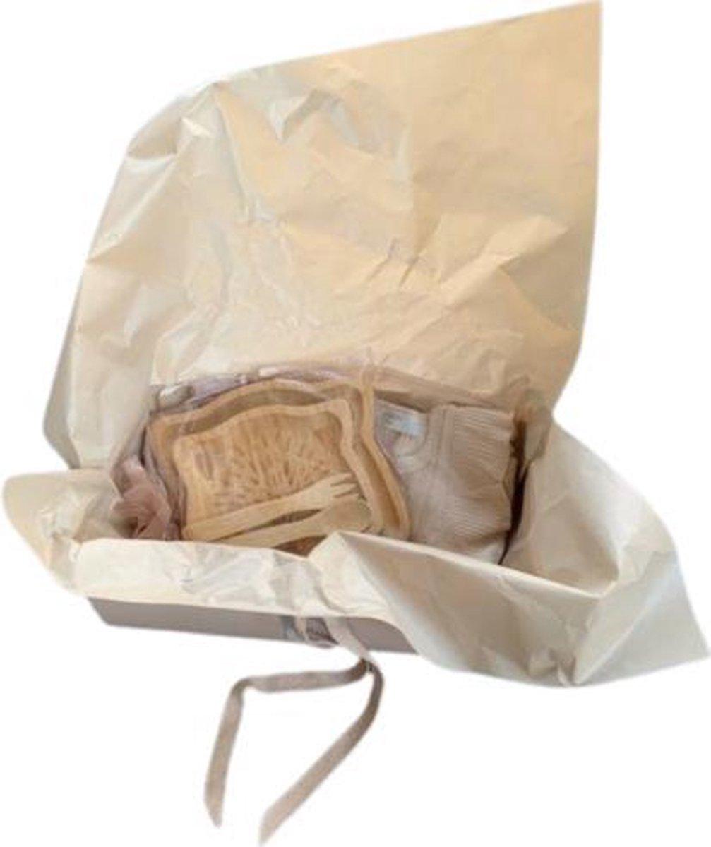Li-Leigh Baby Giftset Crispy, bestekset van bamboe + romper en broekje, kleur: creme, maat: 80