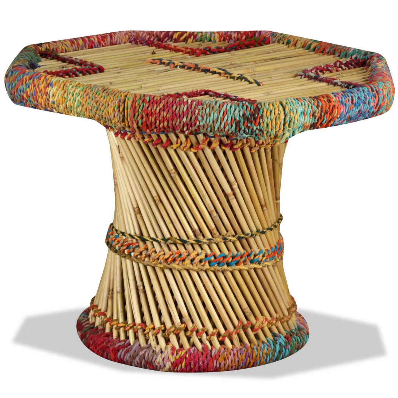 Vidaxl Salontafel Achthoekig Met Chindi Details Bamboe Meerkleurig