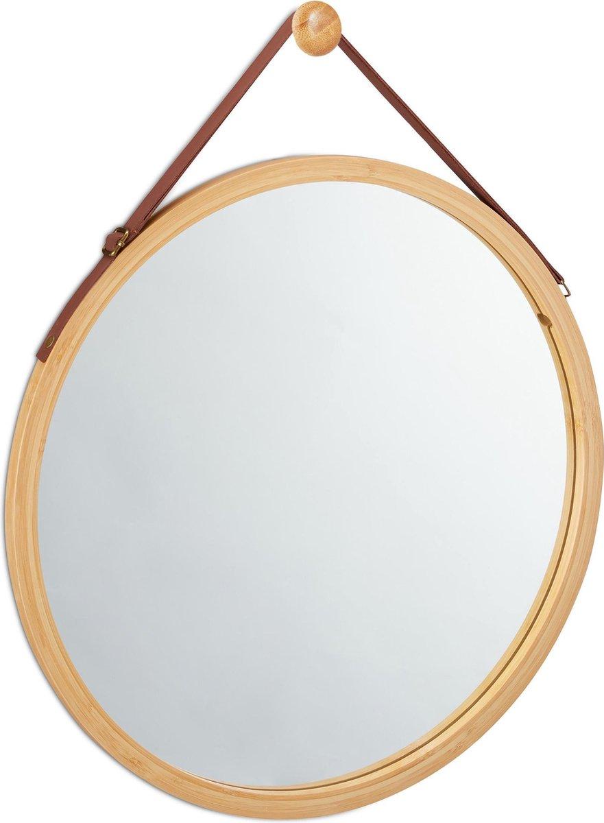 relaxdays spiegel rond - wandspiegel - hangende spiegel - badkamerspiegel - bamboe