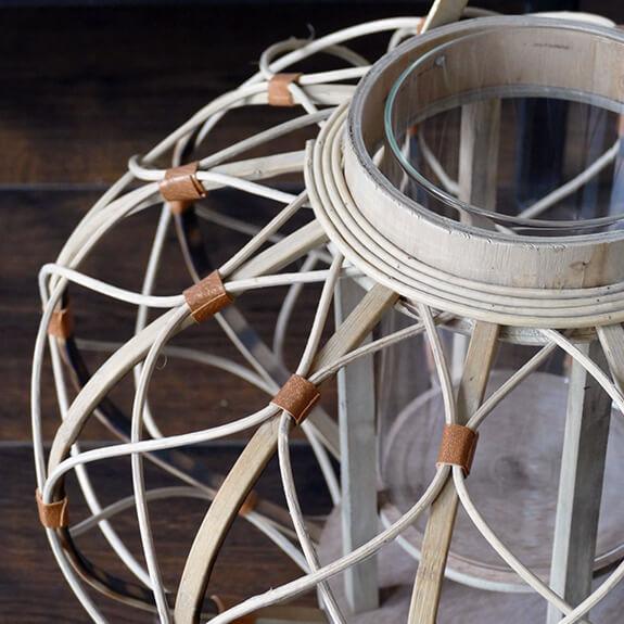 Bamboe lantaarn met hengsel - bruin - 39x27 cm