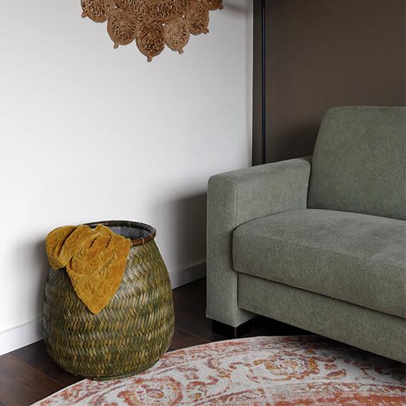 Bamboe mand groot met hendels - groen - 46x45 cm