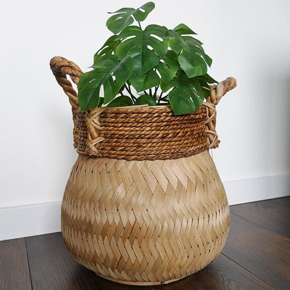 Bamboe mand met hendels - naturel - 34x31 cm