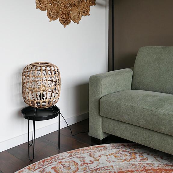 Bamboe tafellamp rond - naturel - 32x43 cm