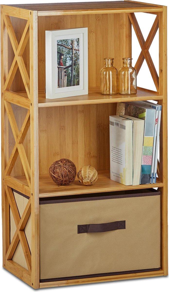 relaxdays rek van bamboe - met mand - staand rek - keukenrek - opbergrek - badkamerrek 3